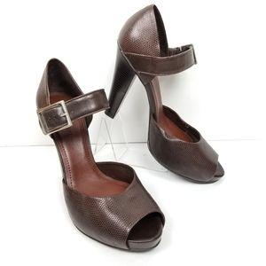 Giani Bini Platform Sandals Brown Leather Sz 9.5